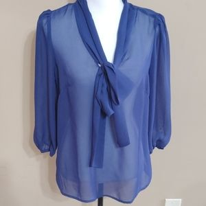 Lovely Day Blue Tie Bow Front Top